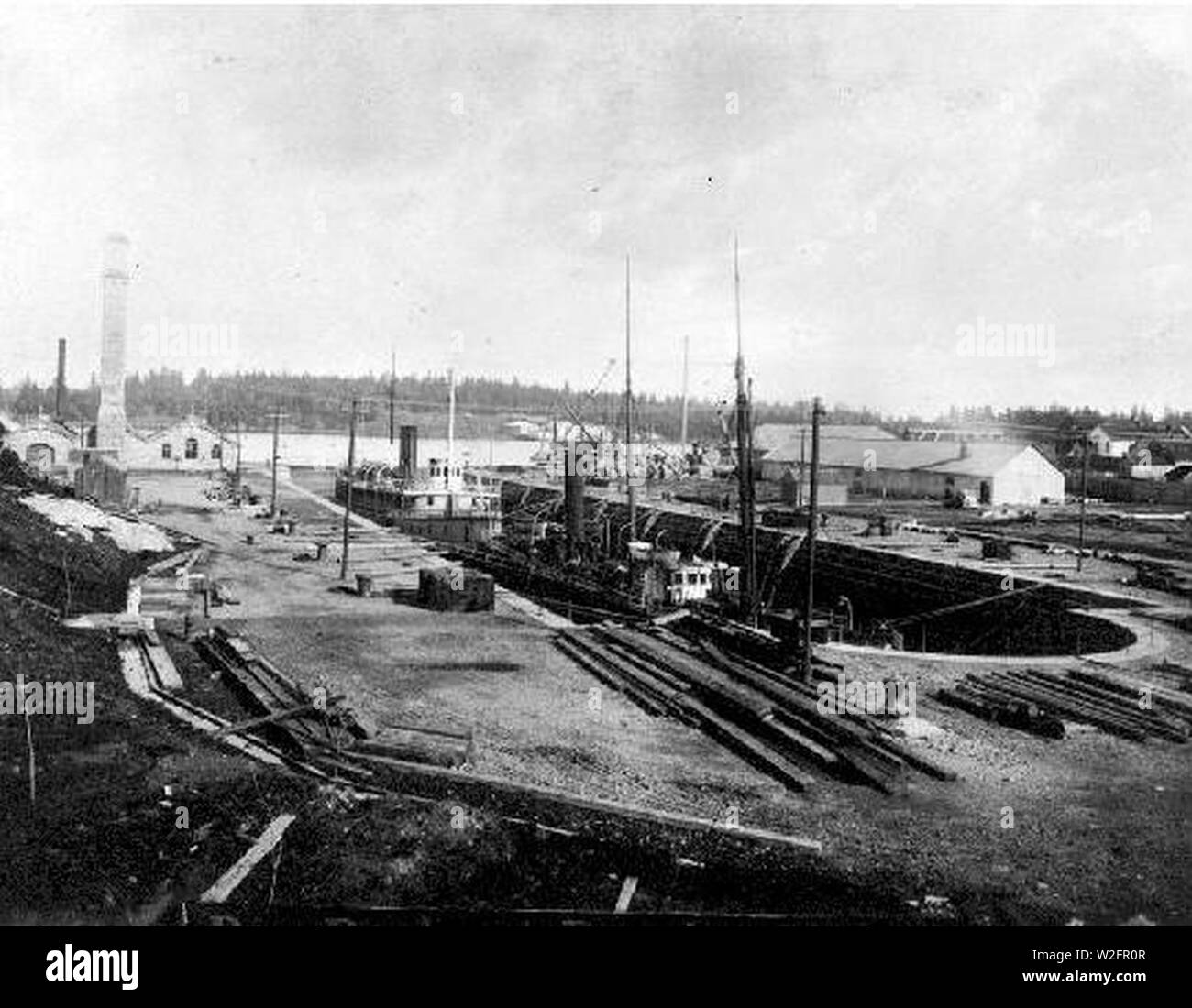 Charmer (steamboat) Cariboo and Fly (steamboat) in Esquimalt dry dock 1893. - Stock Image