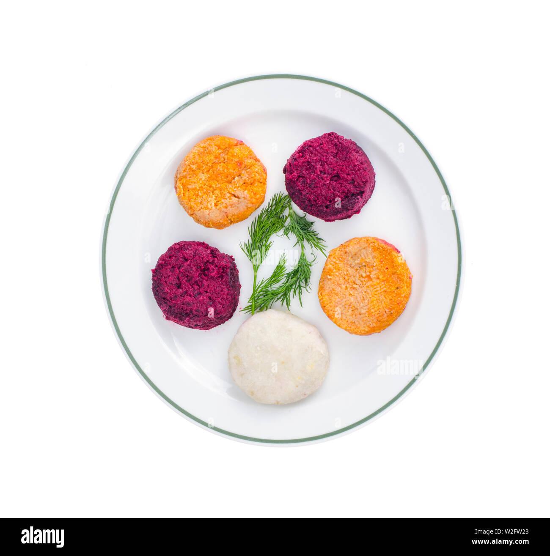 Vegetable burgers from beets, carrots, potatoes. Vegetarian menu. - Stock Image