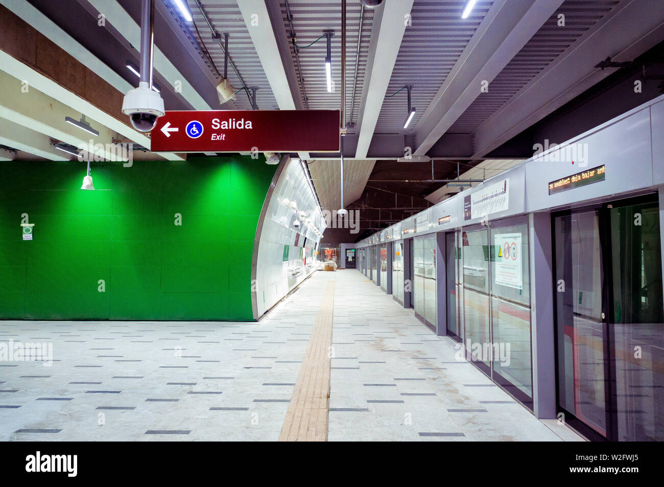 SANTIAGO, CHILE - DECEMBER 2018: A view of the Fernando Castillo Velasco station of L3 before its inauguration - Stock Image