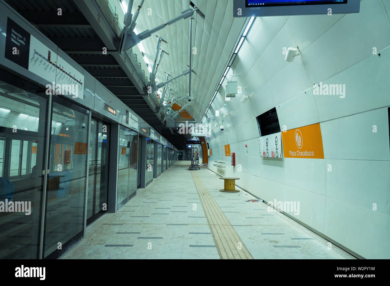 SANTIAGO, CHILE - NOVEMBER 2018: Plaza Chacabuco station of Line 3 before its inauguration - Stock Image