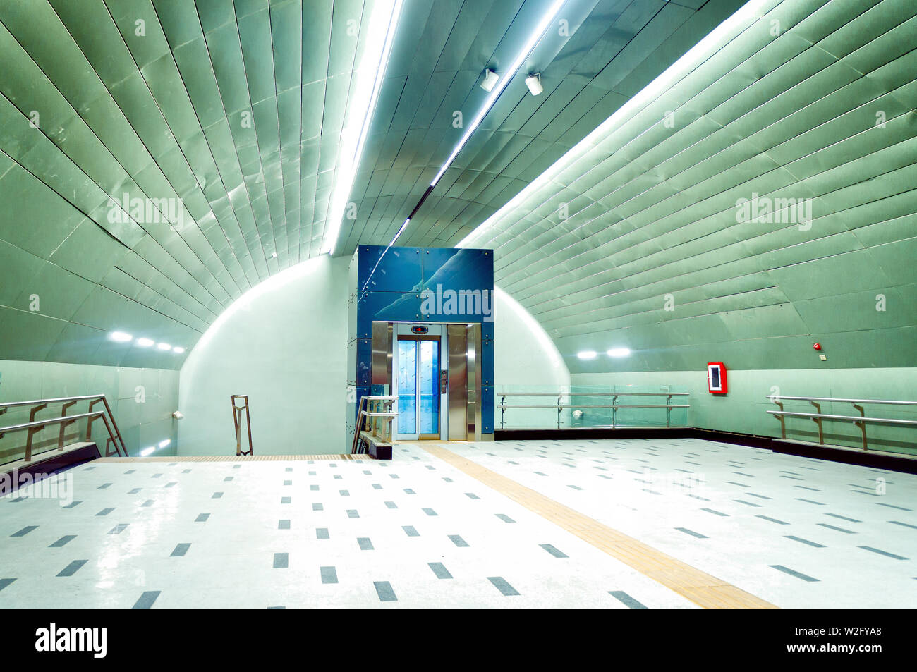 SANTIAGO, CHILE - NOVEMBER 2018: Conchalí station of Line 3 before its inauguration - Stock Image
