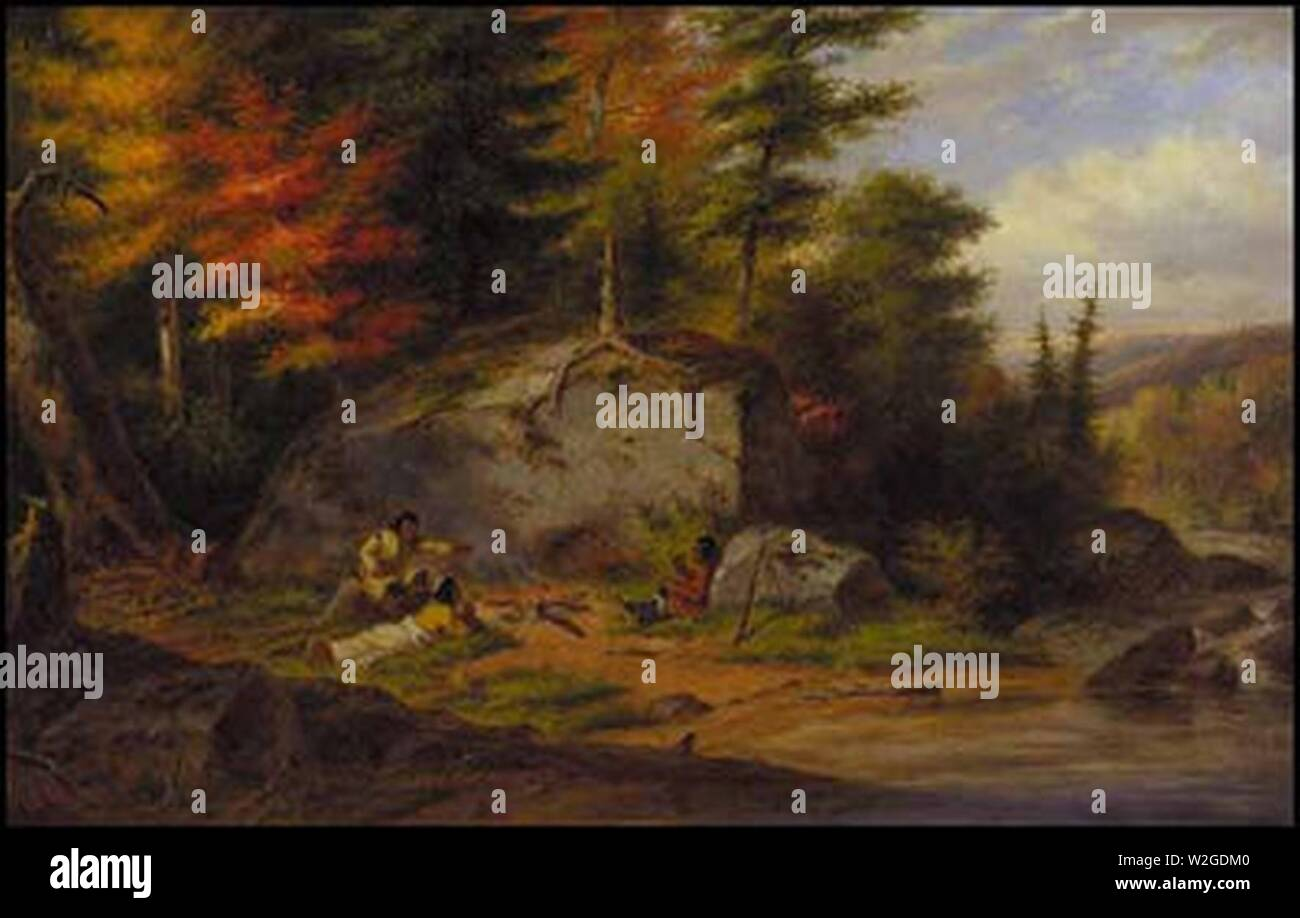 Chippewa Indians at a Portage oil painting by Cornelius Krieghoff 1865. - Stock Image