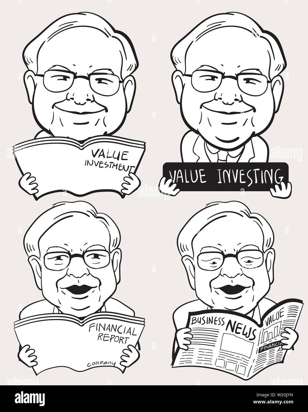 Character drawing set of Warren Buffett, The Investor in USA. - Stock Image