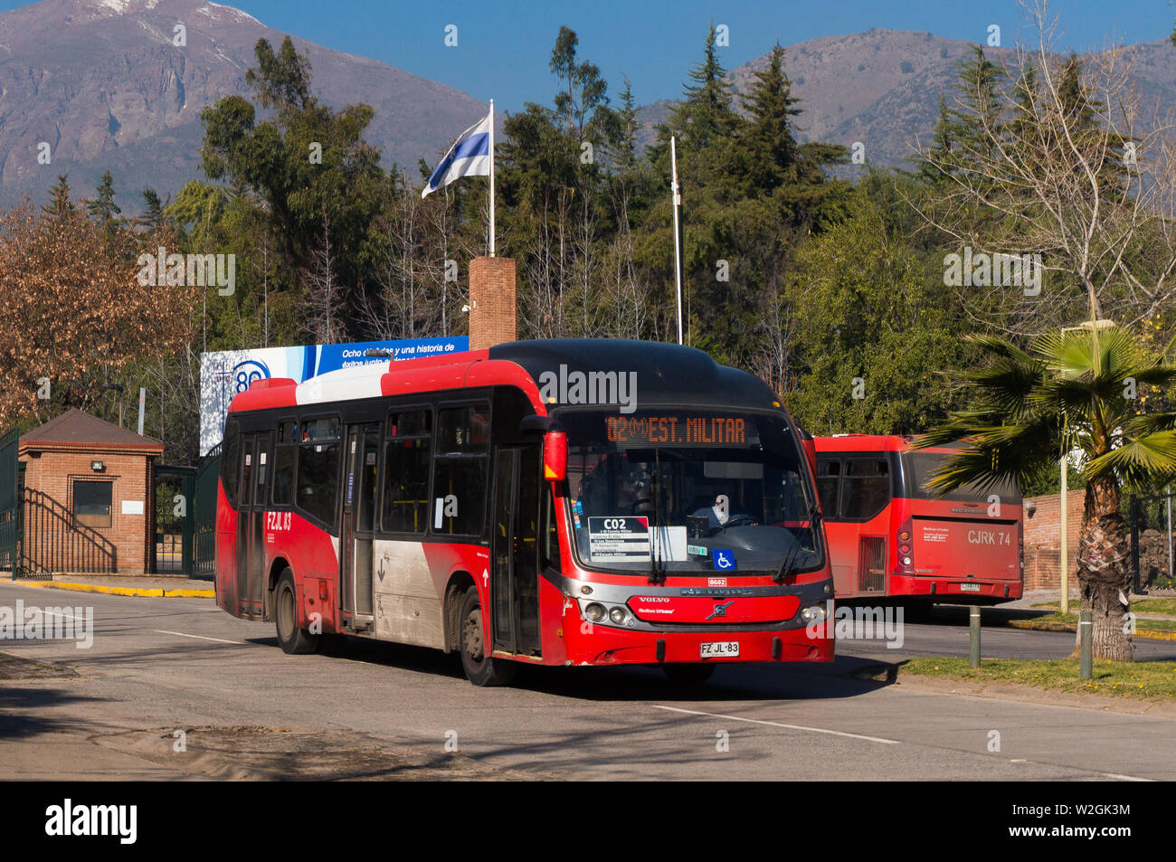 SANTIAGO, CHILE - JULY 2017: A red Transantiago bus in Las Condes - Stock Image