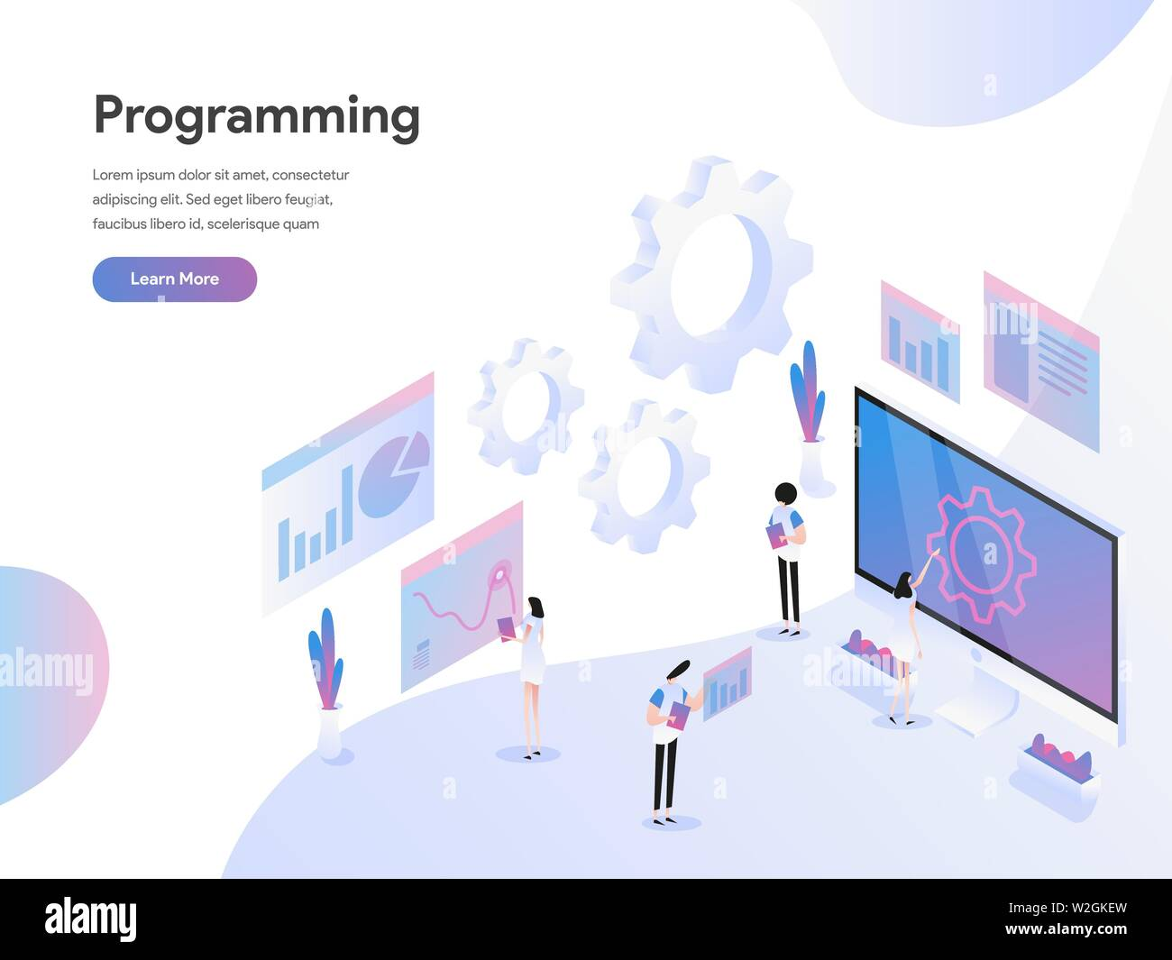 Landing page template of Computer Programming Isometric
