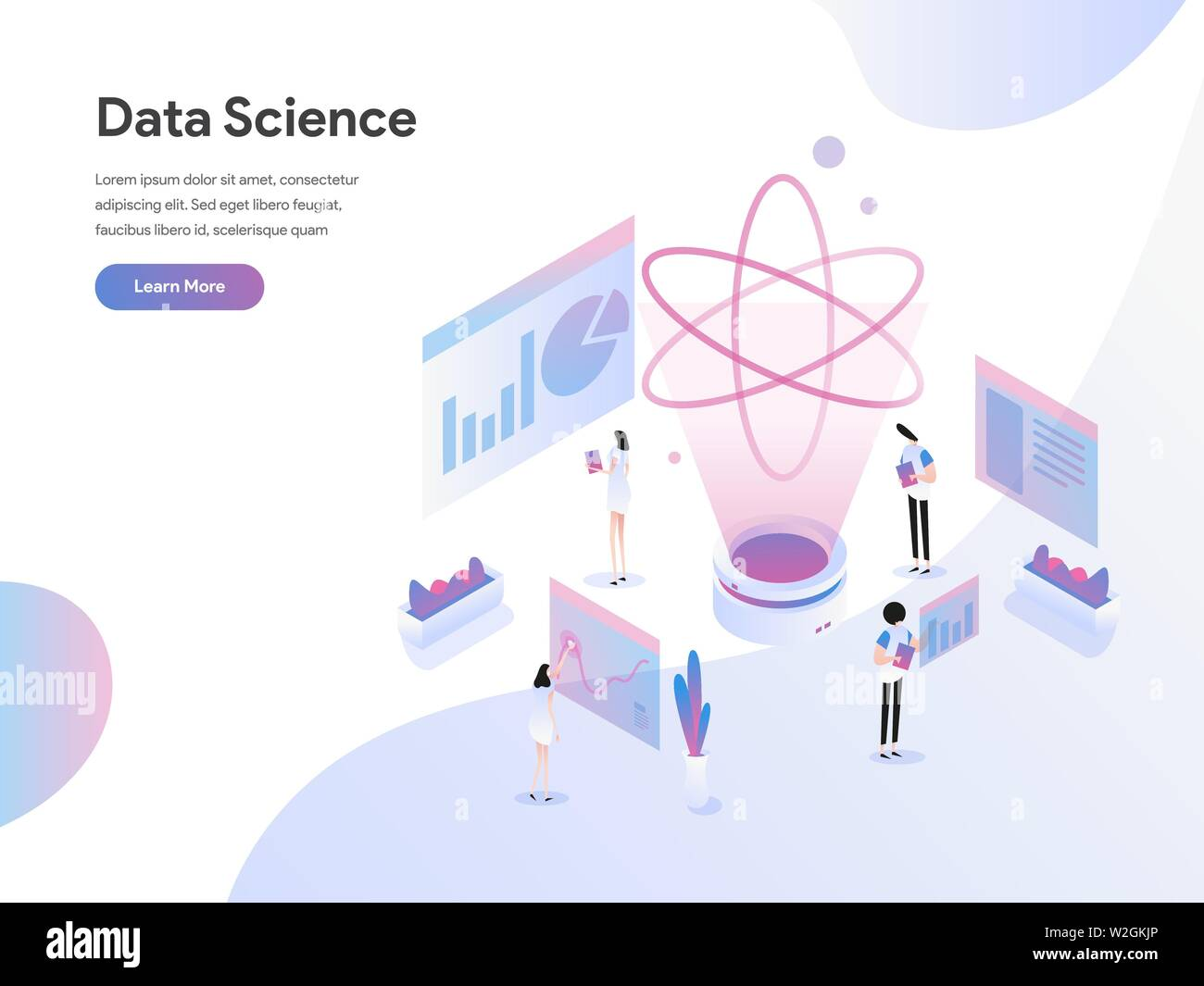 Landing page template of Data Science Isometric Illustration Concept. Flat design concept of web page design for website and mobile website - Stock Image