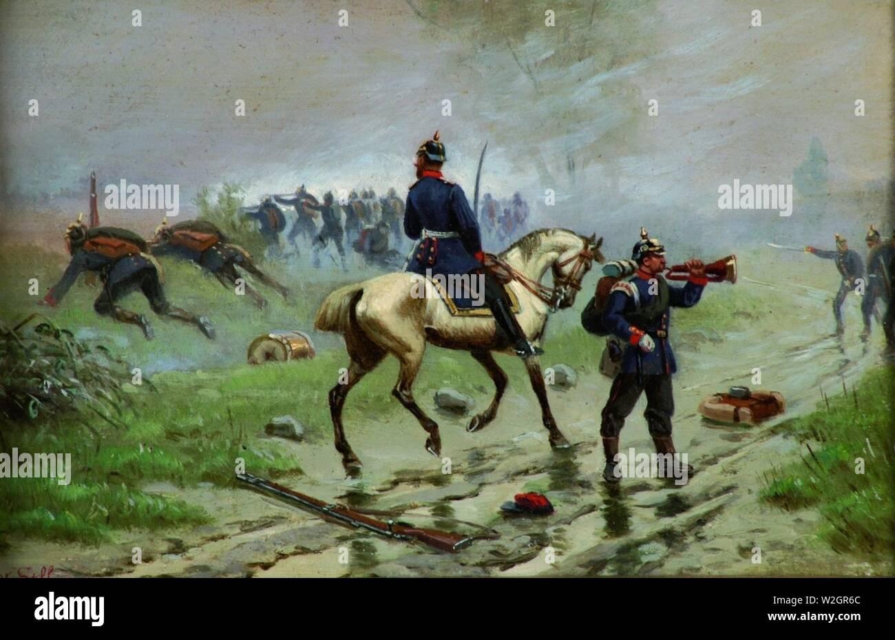 Christian Sell Preußische Soldaten im Gefecht. - Stock Image