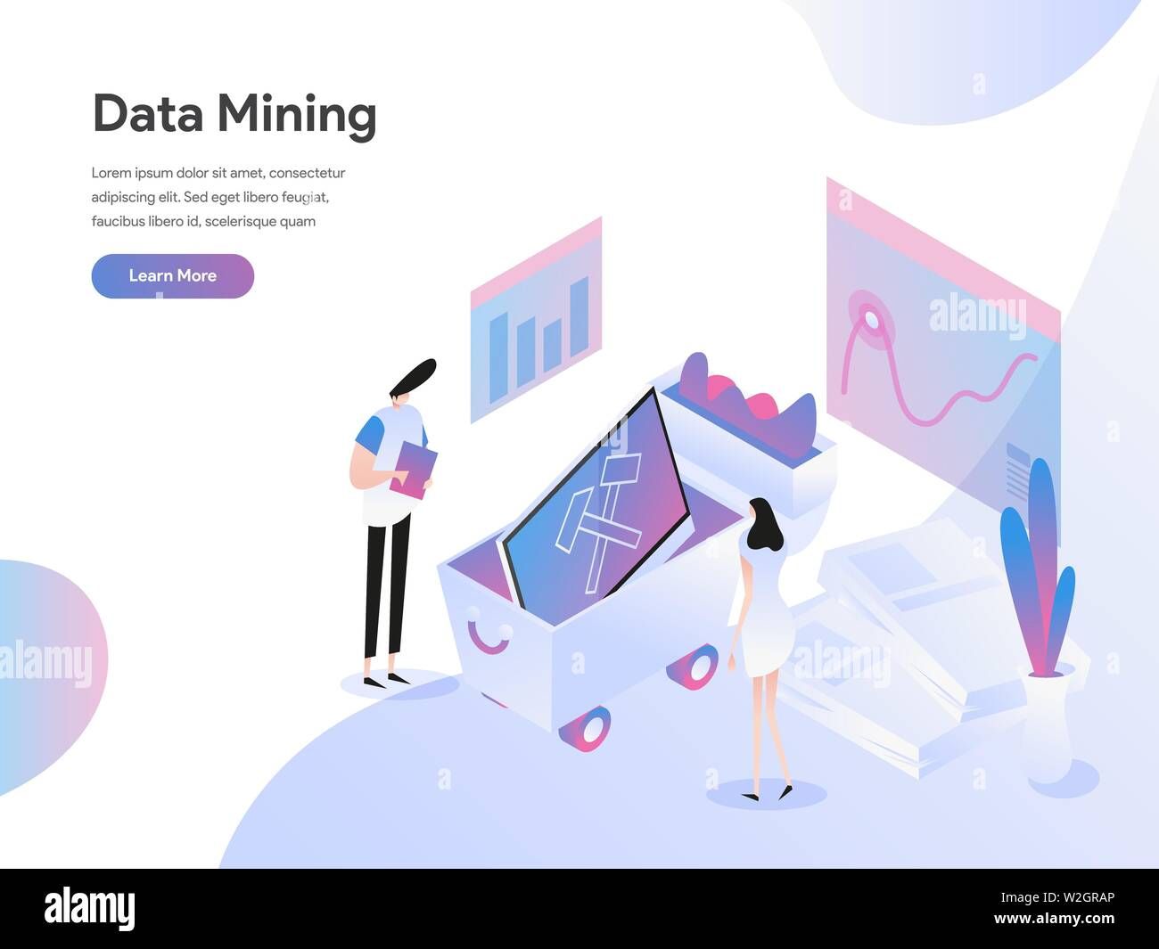 Landing page template of Data Mining Isometric Illustration Concept. Isometric flat design concept of web page design for website and mobile website.V - Stock Image