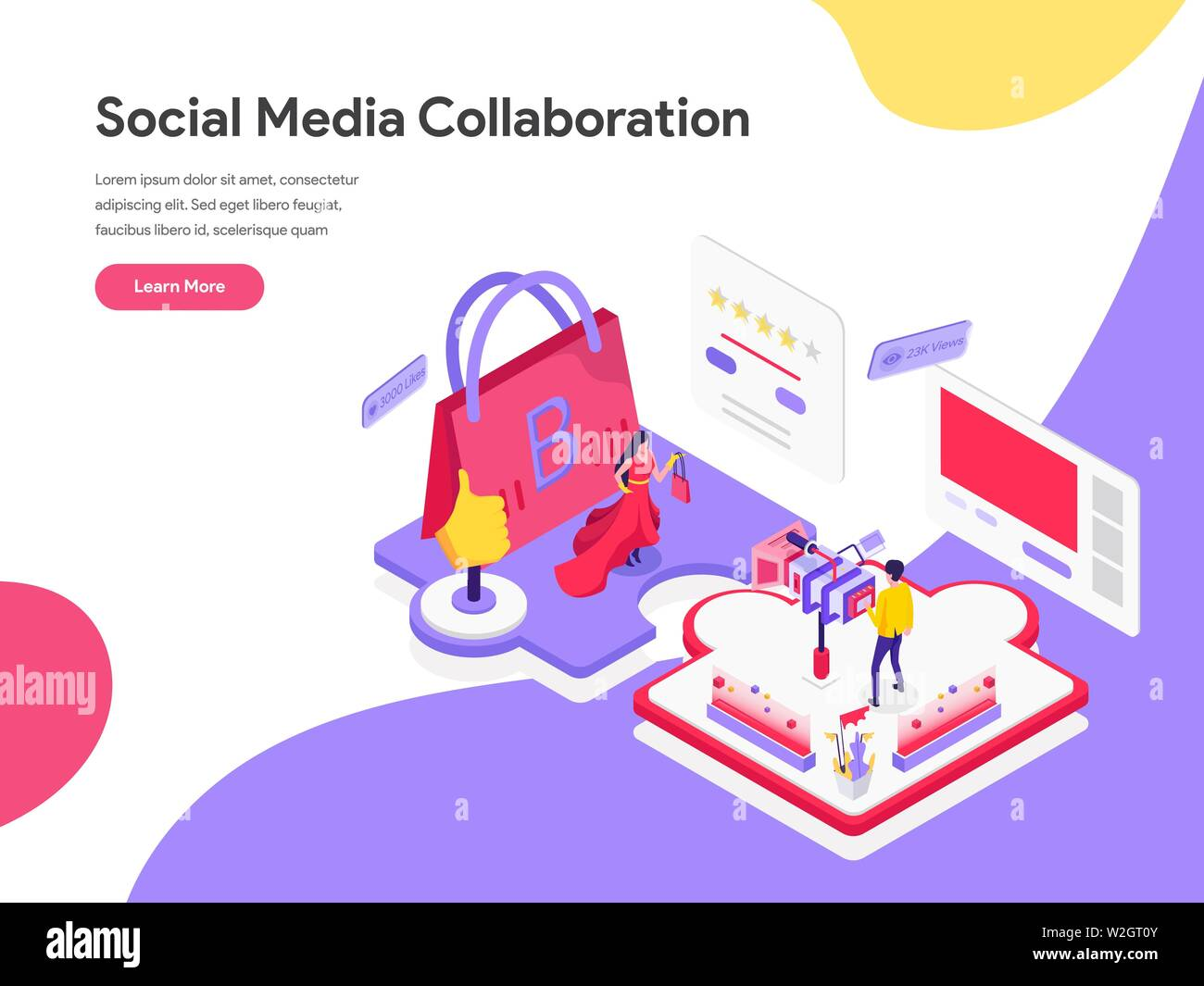 Landing page template of Social Media Collaboration