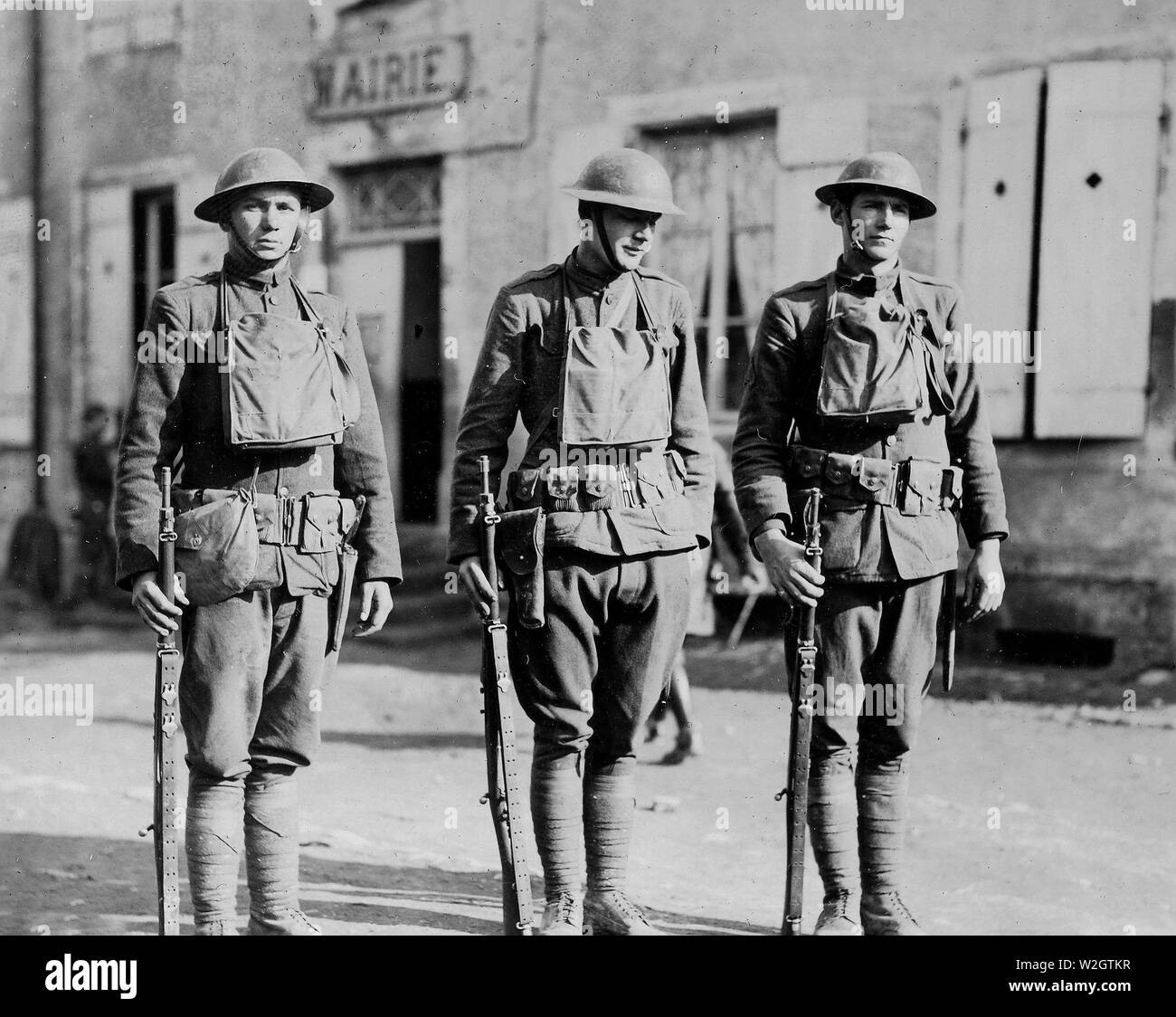A Successful Patrol- Three men of a patrol of 5 who met a German patrol of 10 men, with no loss- The German losses were 2 killed, 2 wounded, and 2 captured ca. March 1918 in Glenville France - Stock Image