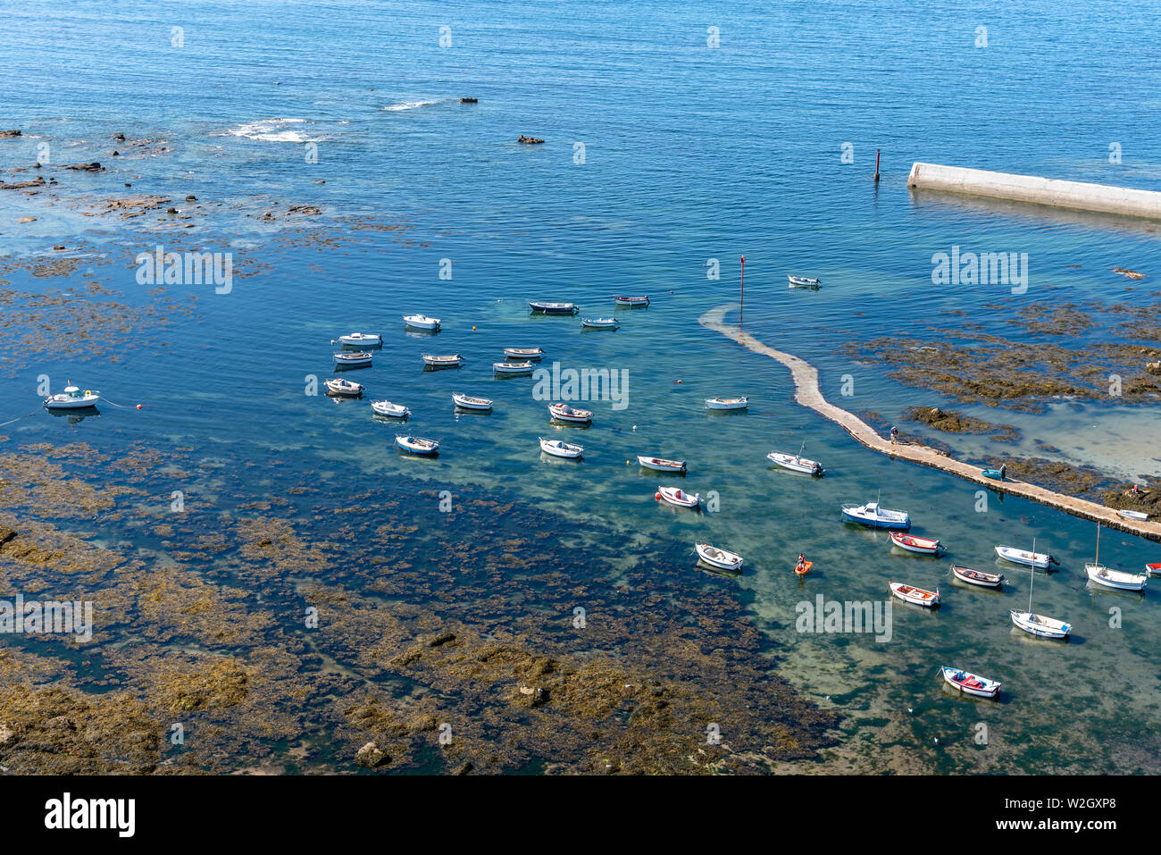 Penmarch, France - August 2, 2018: Aerial view of the harbour of Point Penmarch. Stock Photo
