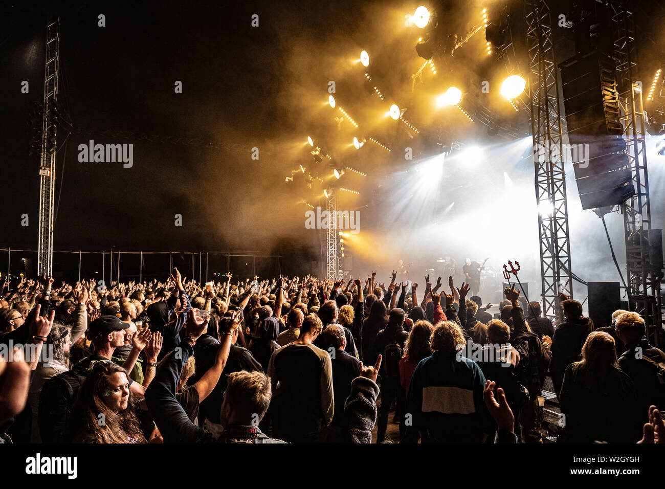 Roskilde, Denmark  July 05th, 2019  Concert goers attend a live