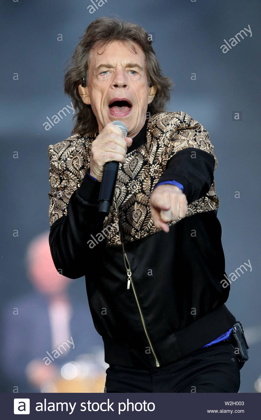 File photo dated 09/06/18 of Sir Mick Jagger who has poked fun at Donald Trump after the US president's gaffe about airports during the American Revolutionary War. - Stock Image