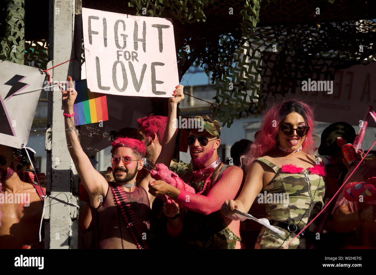 Partygoers at the gay pride 2019 event in Barcelona - Stock Image