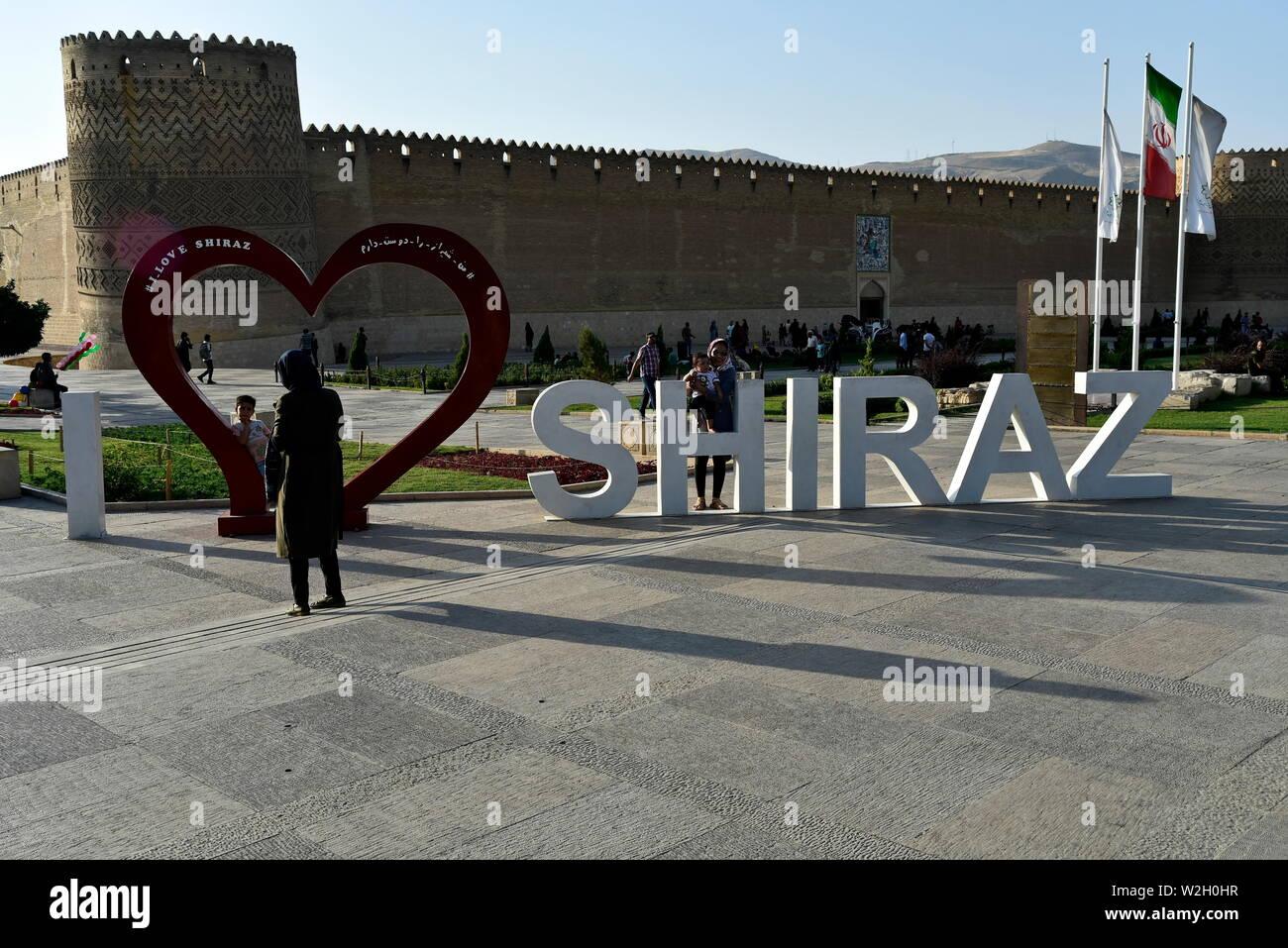Shiraz, Fars Province, Iran, June 24, 2019 I Love Shiraz Design near Arg Karimkhan - Stock Image