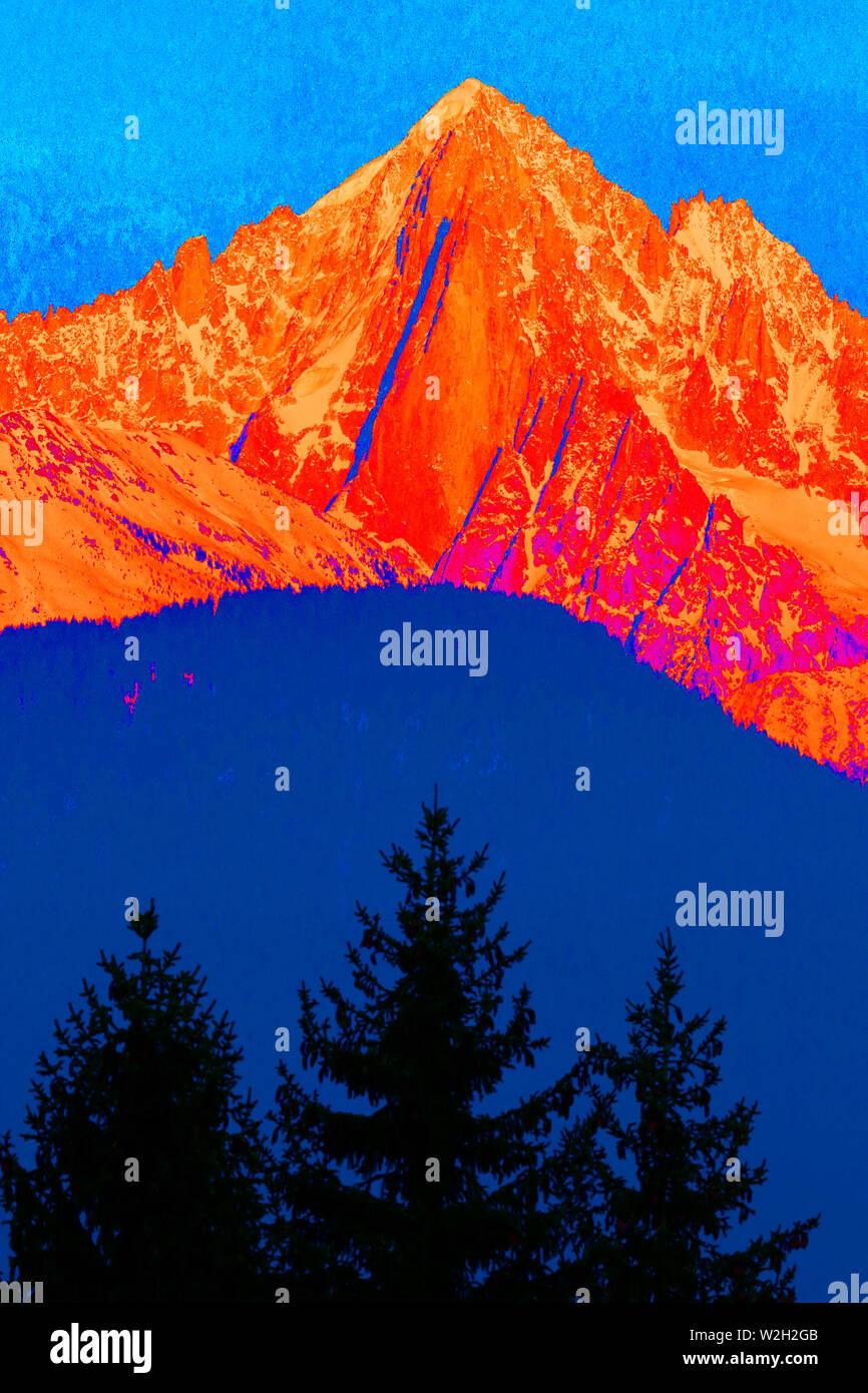 Mont blanc massif in winter. Aiguille du Midi mountain peak. Chamonix. France. - Stock Image