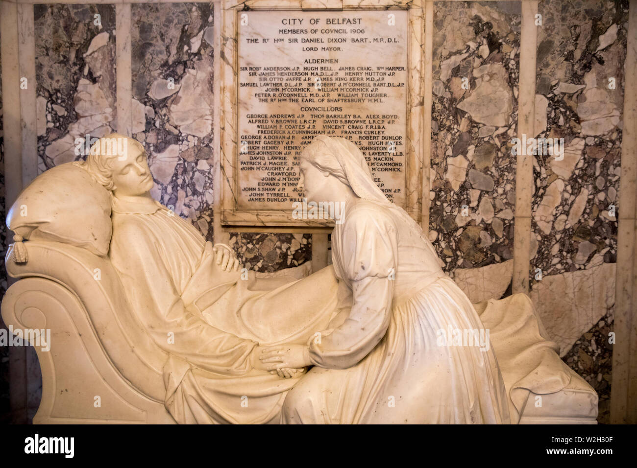 Belfast city hall, Ulster (Northern Ireland), U.K. Marble monument to Frederick Richard Chichester, Earl of Belfast (1827-1853) by Patrick Macdowell. - Stock Image