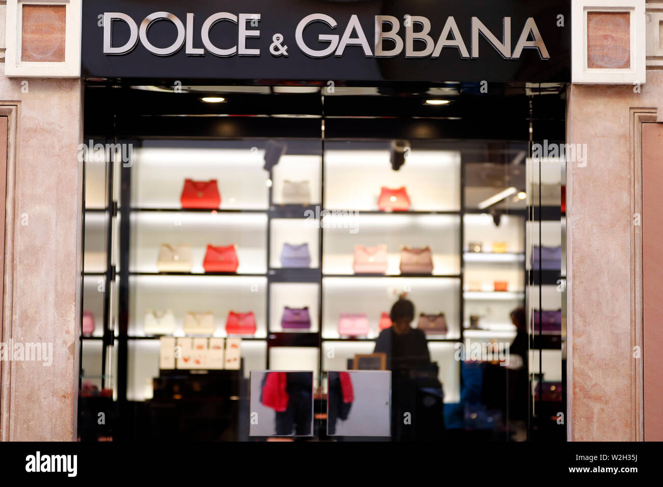 Dolce and Gabbana  boutique window display.  Verona. Italy. - Stock Image