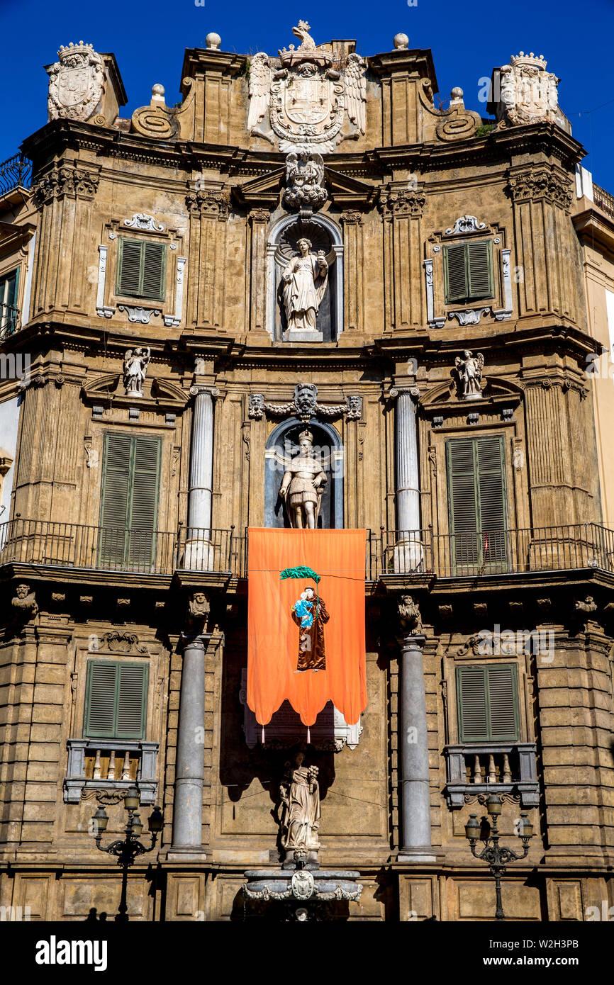 Quattro Canti, Palermo, Sicily, Italy. - Stock Image