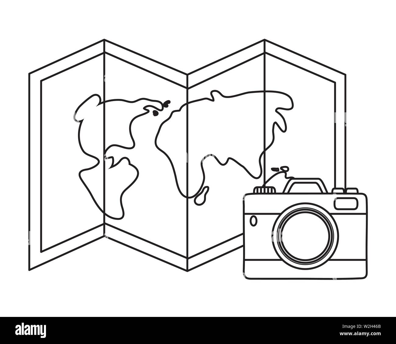 Tourist trip summer travel folded guide map and red camera adventure exploration vector illustration graphic design - Stock Image
