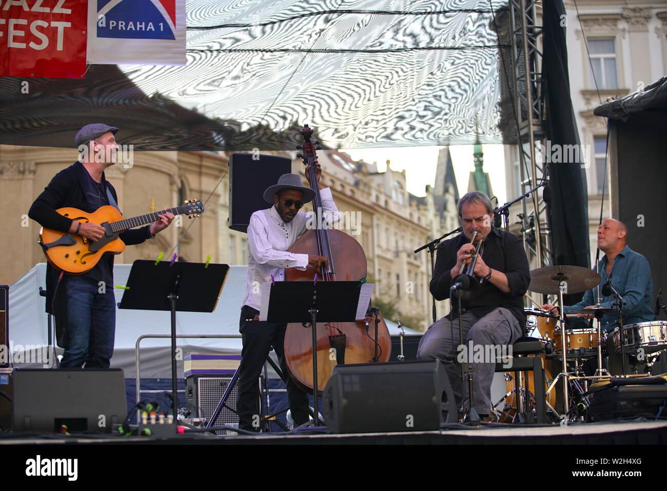 Prague, Czech Republic  8th July, 2019  Musicians perform during