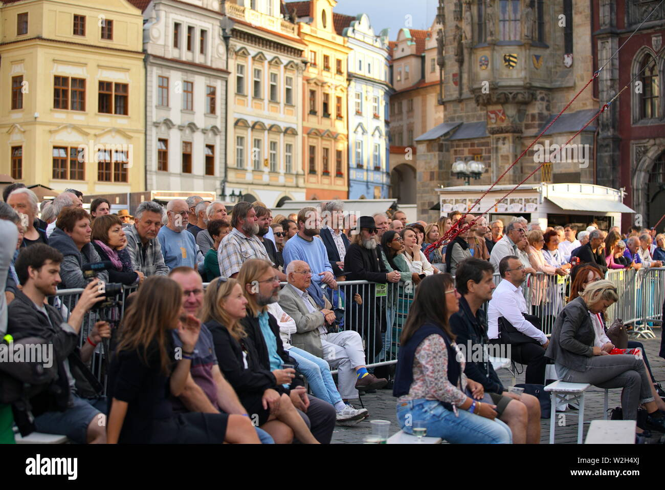 Prague, Czech Republic  8th July, 2019  People enjoy jazz during