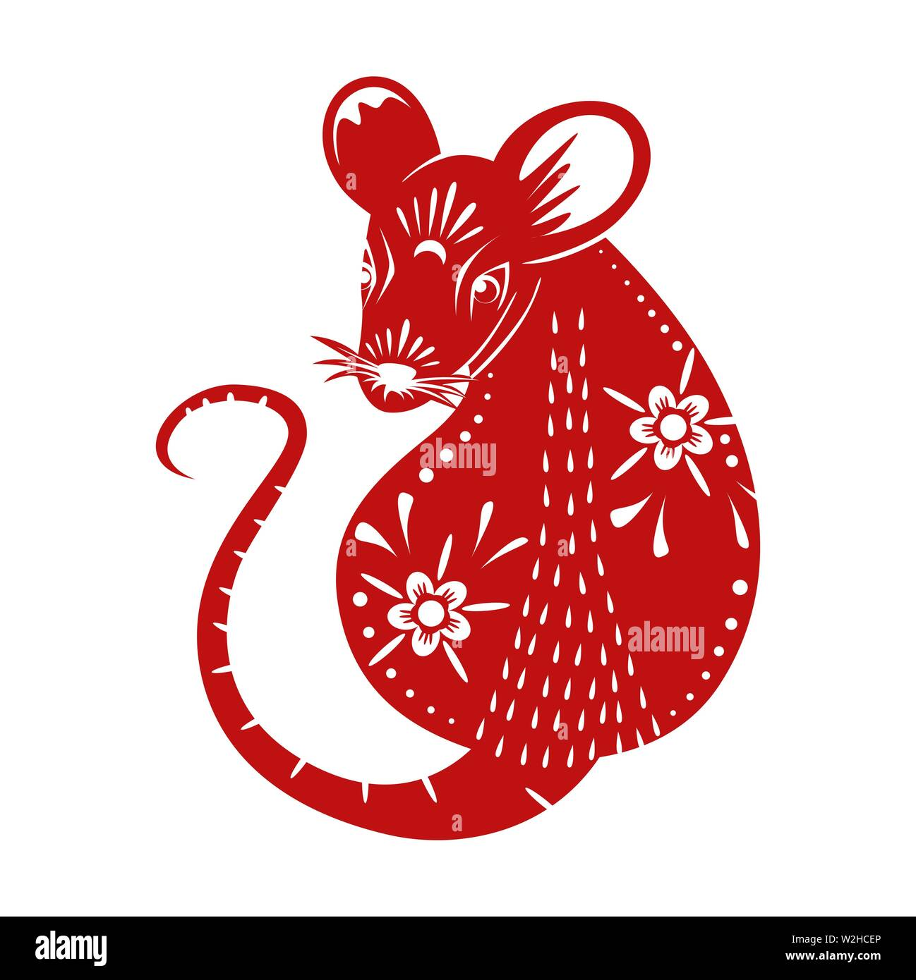 Chinese New Year 2020 Animal.Year Of The Rat Chinese New Year 2020 Red Paper Cut Rat