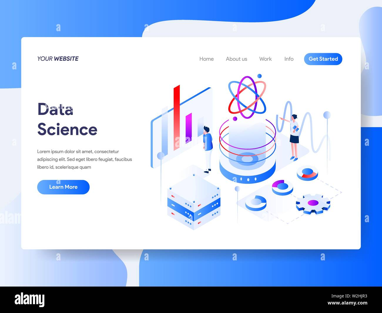 Landing page template of Data Science Isometric Illustration Concept. Isometric flat design concept of web page design for website and mobile website. - Stock Image