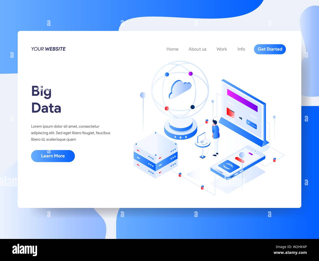 Landing page template of Big Data Isometric Illustration Concept. Isometric flat design concept of web page design for website and mobile website.Vect - Stock Image