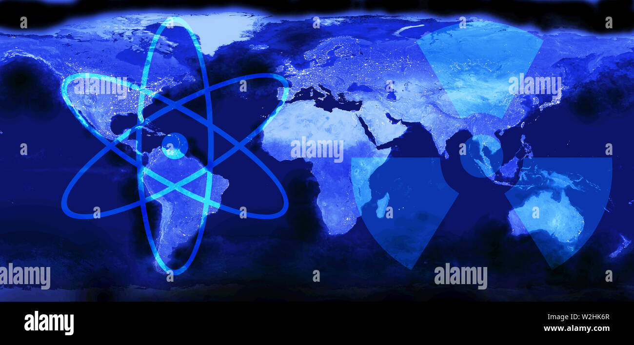 World map. View from outer space.Symbols of atom and radioactivity. Peaceful nuclear energy concept. Mixed media Stock Photo