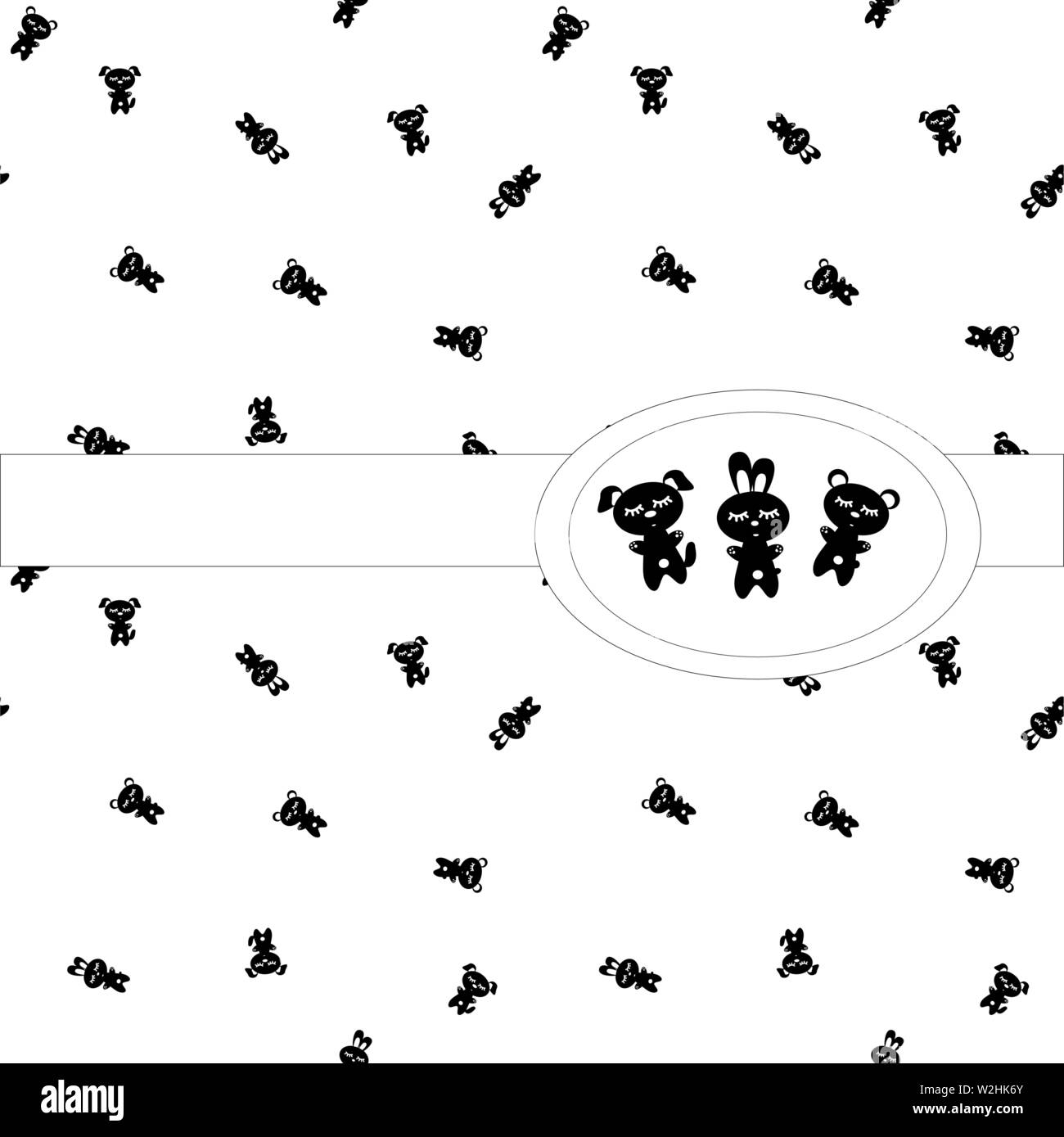 Sleep Pattern Seamless Black And White Characters On White Background Sleeping Little Bear Banny Puppy For The Creation Wallpaper Children Bedro Stock Vector Image Art Alamy