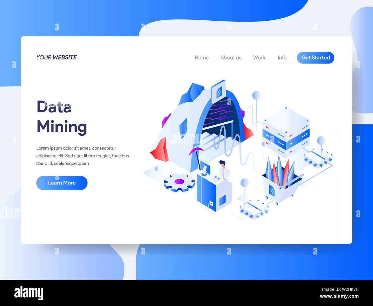 Landing page template of Data Mining Isometric Illustration Concept. Isometric flat design concept of web page design for website and mobile website - Stock Image