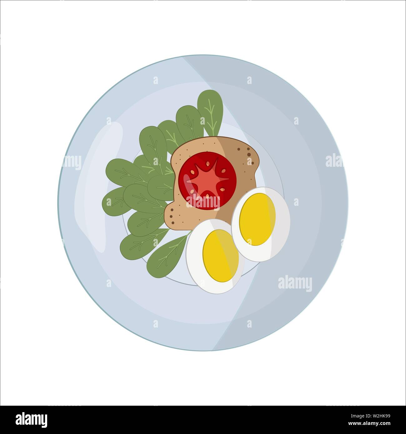 Food on a round white plate in flat style. The concept of lunch, dinner, breakfast. A piece of bread. Sandwich with red tomato and two egg halves and Stock Vector