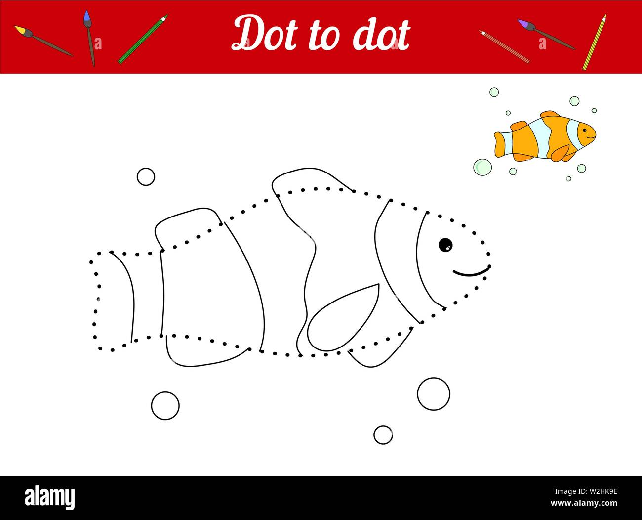 Dot to dot. Clown fish. Connect dots and color the picture. Kid game Find hidden personage. Page to be color. Educational game for children. For presc Stock Vector
