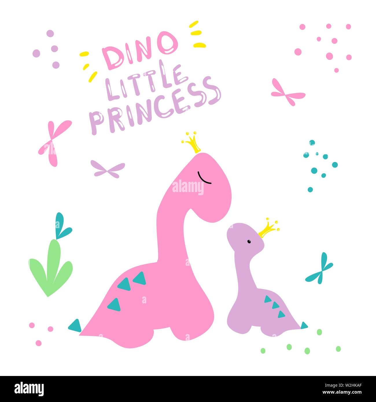 Dino cover. Two dinosaurs in crowns print. Little dino and his mom pattern. Pink color poster with lettering little princess. For the design of nurser Stock Vector