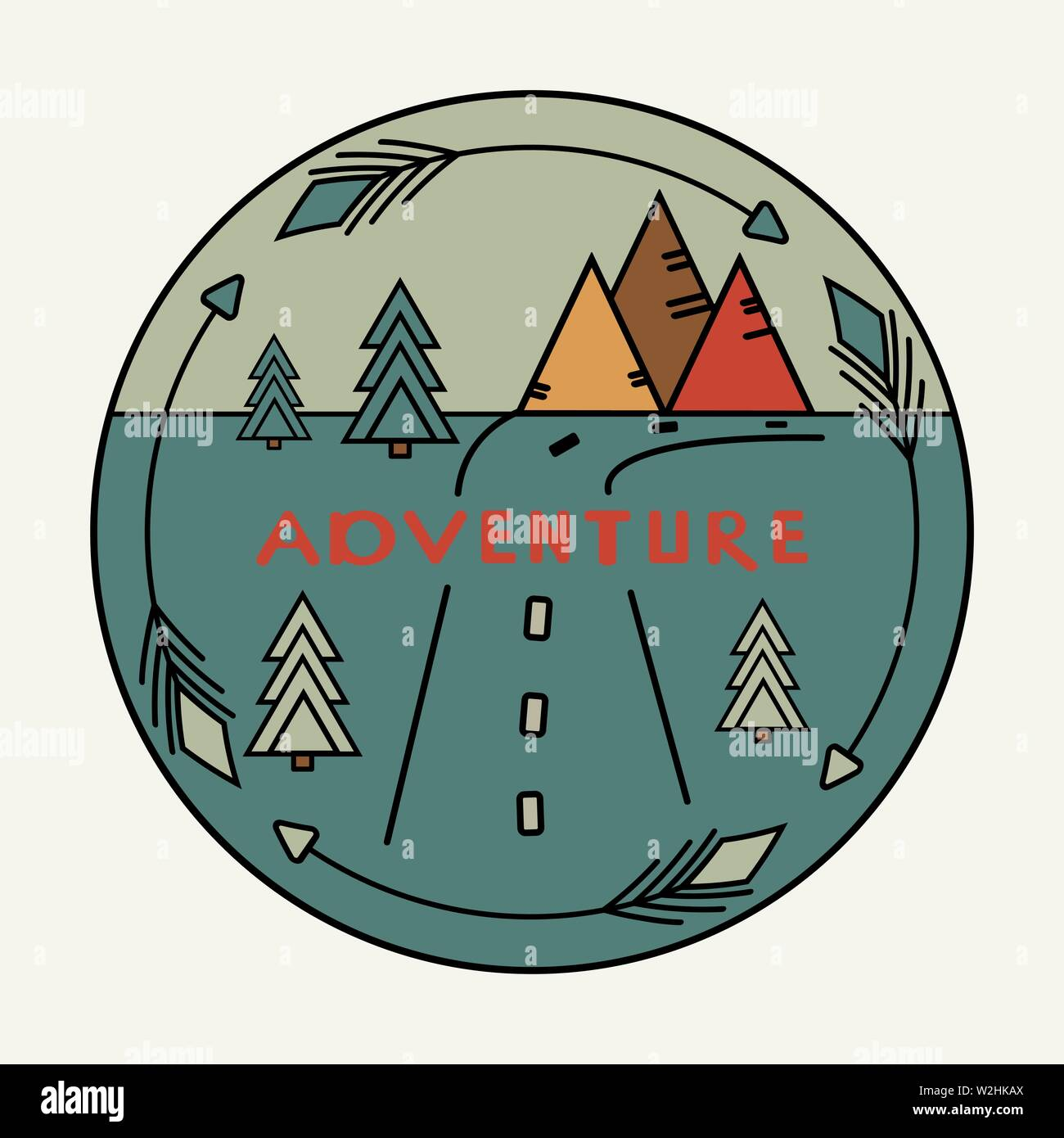 Round vintage sticker with Inscription Adventure. The road, the arrows around the mountains, fir trees. Symbol of free travel. Camper tourism. Van lif Stock Vector