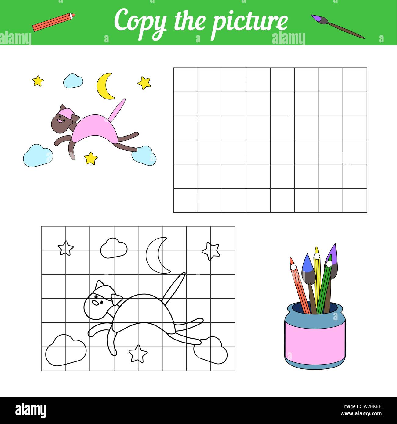 Paper game for preschoolers. Copy the picture and color sample little animal kitten. Cartoon style draw. Educational game for children. Handmade to cr Stock Vector