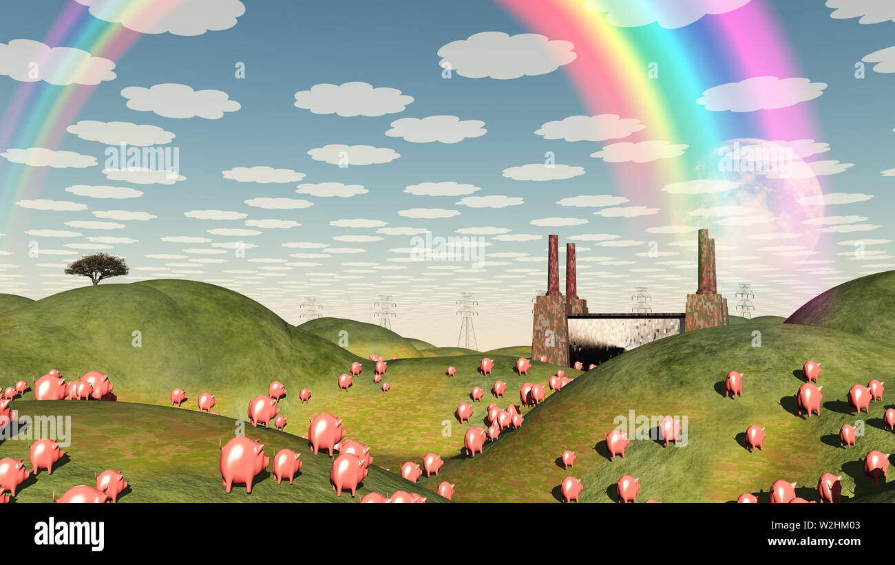 Pigs move like lemmings toward factory - Stock Image