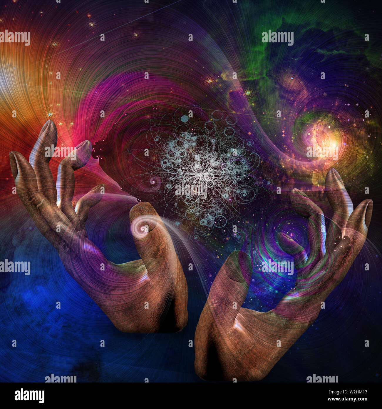 Hands moving through space - Stock Image