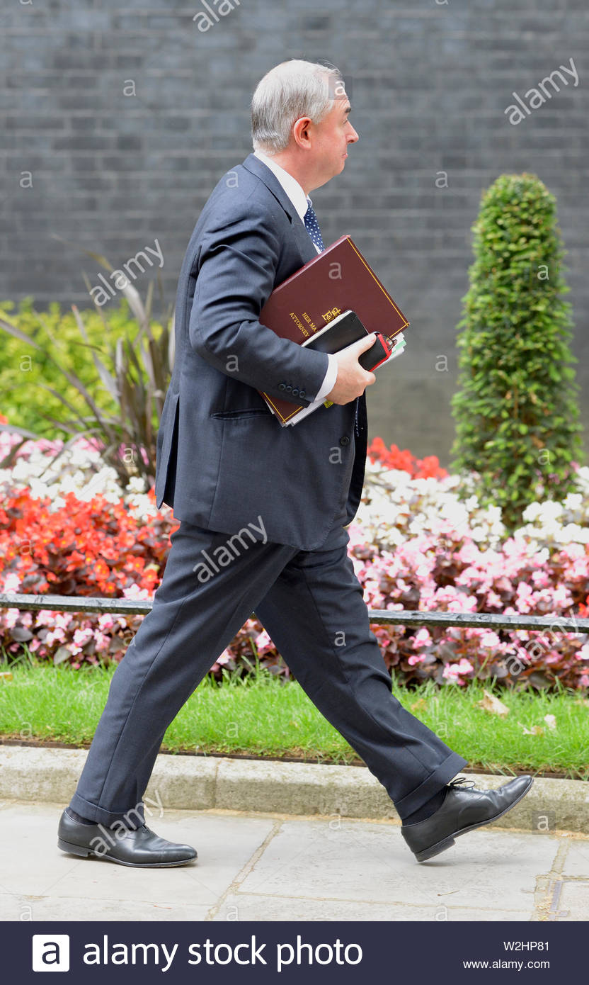 London, UK. 9th July 2019. Ministers leave the weekly cabinet meeting at No 10. Geoffrey Cox (Attorney General) - Stock Image