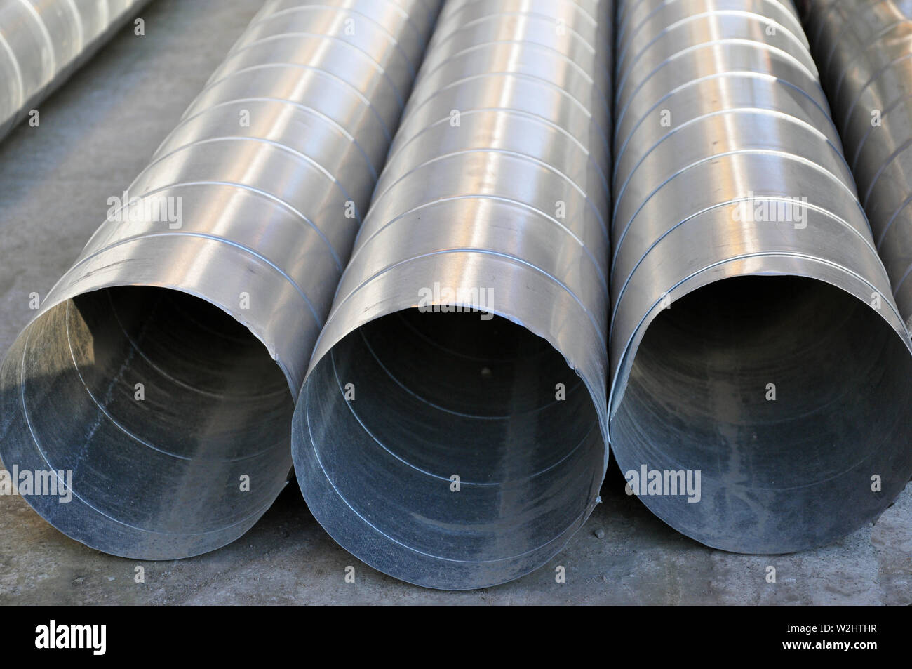 Elements and parts made of galvanized sheet for various ventilation systems, Russia - Stock Image