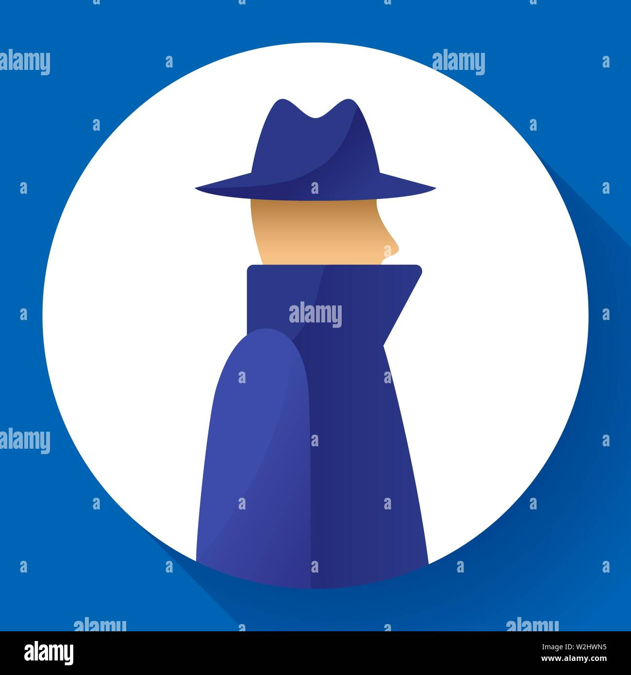 Anonymity concept, spy, detective, agent, anonym in coat and hat icon, anonymous, vector illustration. - Stock Vector
