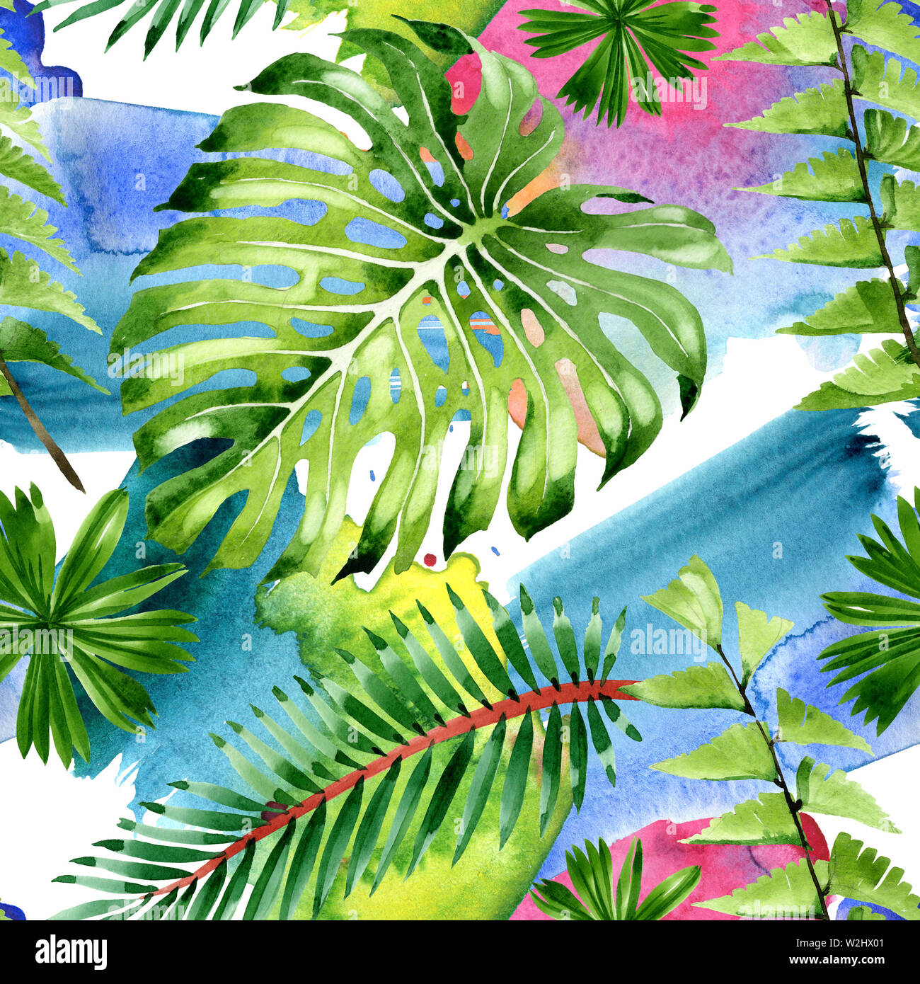 Exotic Tropical Hawaiian Summer Palm Beach Tree Leaves Watercolor Illustration Set Watercolour Drawing Fashion Aquarelle Seamless Background Patte Stock Photo Alamy