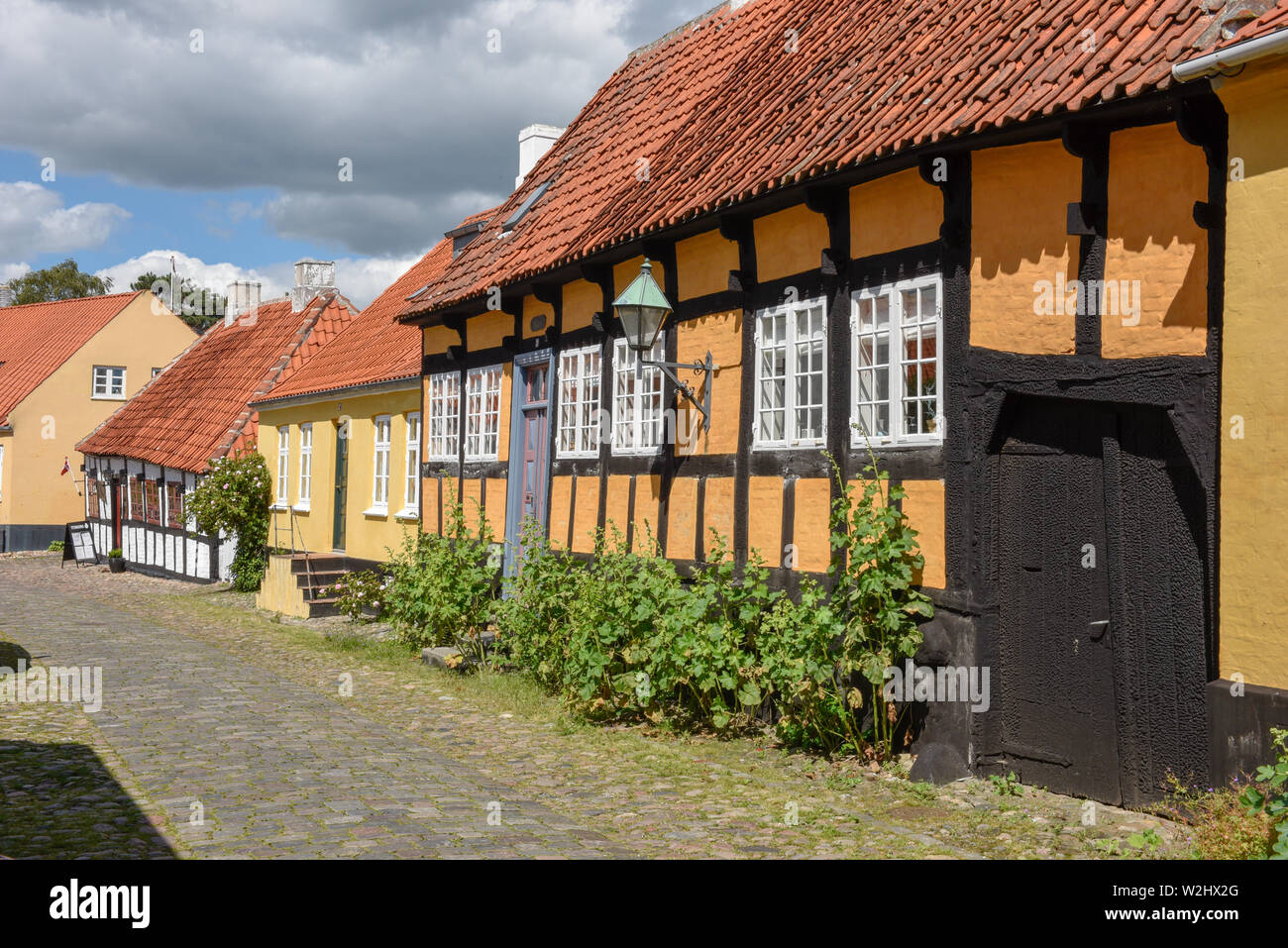 Ebeltoft, Denmark - 22 June 2019: the traditional historic village of Ebeltoft on Jutland in Denmark Stock Photo