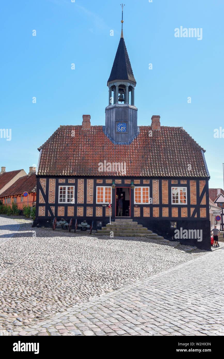 Ebeltoft, Denmark - 22 June 2019: the historic town hall of Ebeltoft on Jutland in Denmark Stock Photo