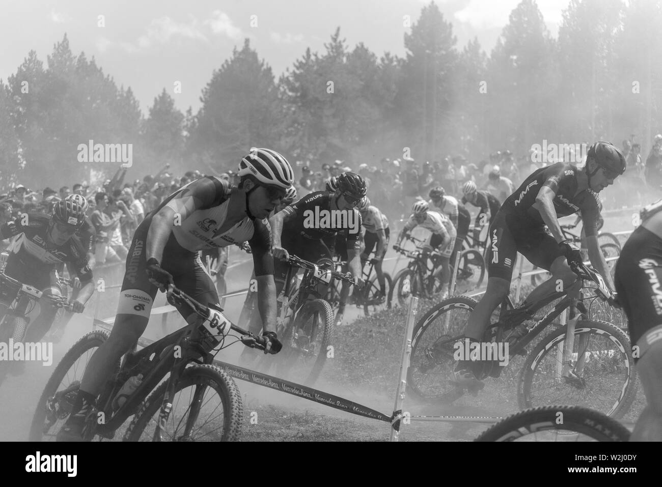VALLNORD, ANDORRA  - JULY 7 2019:  CYCLISTS in the MERCEDES-BENZ UCI MTB WORLD CUP 2019 - XCO Vallnord, Andorra on July 2019 - Stock Image