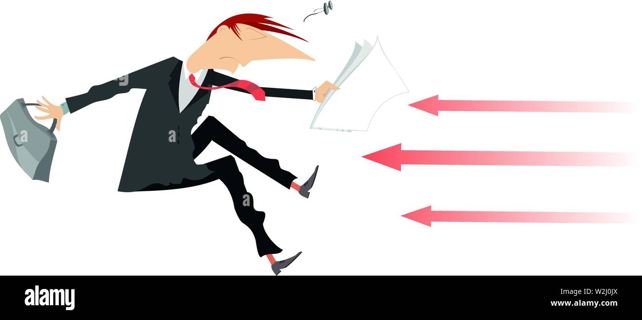 Frightened businessman and arrow signs concept illustration. Frightened man with bag and papers, arrow signs isolated on white - Stock Vector
