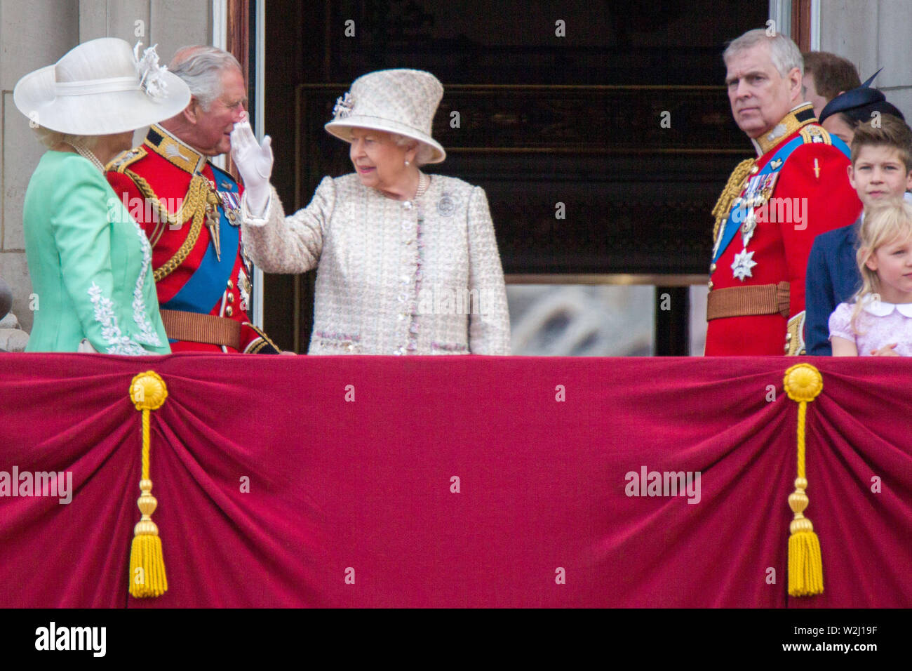 The official birthday of the British Sovereign has been marked by The Trooping of the Colour for more than 260 years. The royal spectacle sees over 1400 parading soldiers, 200 horses and 400 musicians take part in the annual event which is followed by an RAF fly-past over Buckingham Palace. Featuring: Camilla, Duchess of Cornwall, Charles, Prince of Wales, HM Queen Elizabeth II, Prince Andrew Duke of York Where: London, United Kingdom When: 08 Jun 2019 Credit: Wheatley/WENN - Stock Image
