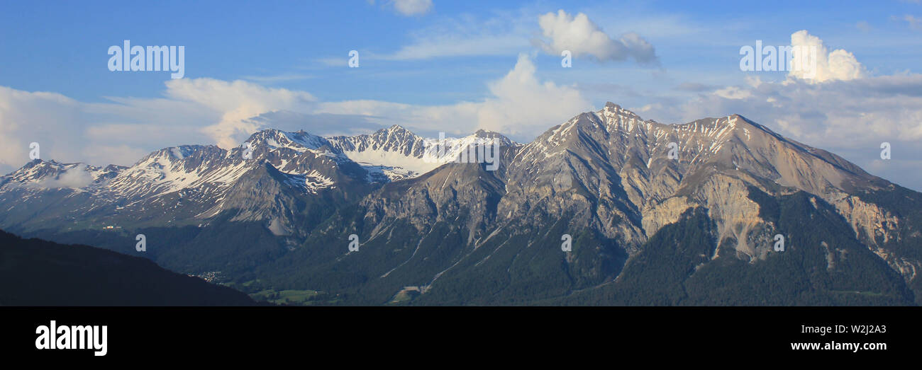 Mountain range in the Canton of Grisons, Switzerland. - Stock Image