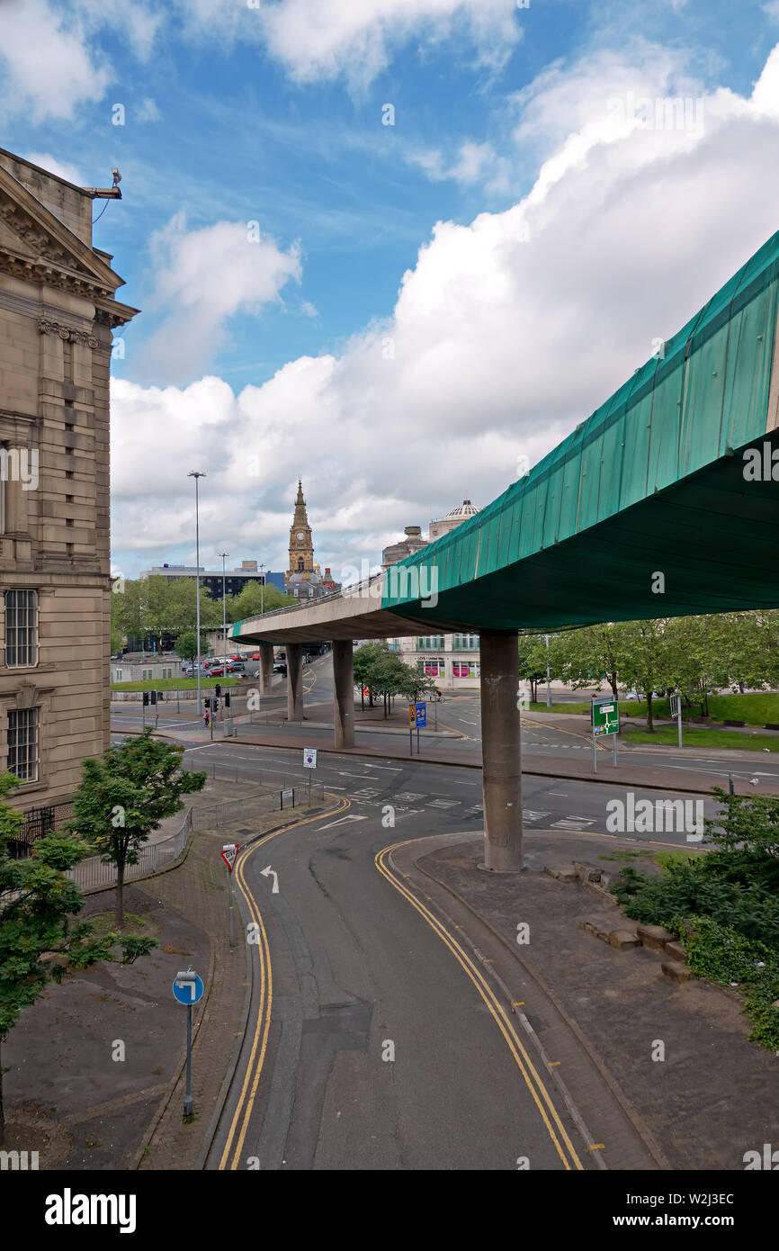 The Churchill Way flyovers in Liverpool UK to be demolished this summer because they're no longer safe to carry traffic and too expensive to repair Stock Photo